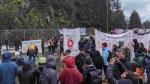 Protesters outside Swartz Bay ferry terminal on Jan. 20, 2020. (Kolin Sutherland-Wilson photo)