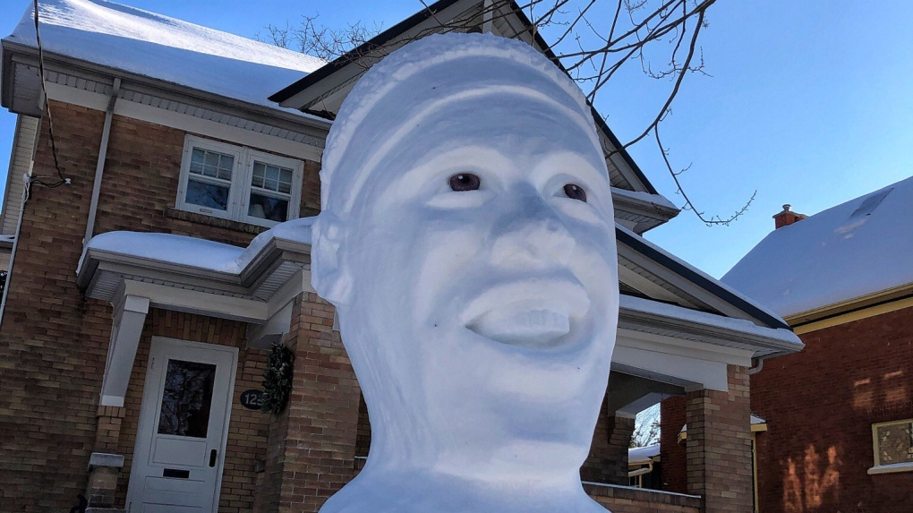 A sculpture of Pascal Siakam made of snow