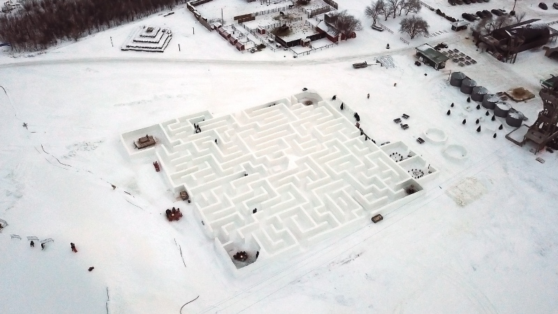 People find their way around Manitoba's Guinness World Record holding Snow Maze just south of Winnipeg in St. Adolphe Saturday, January 11, 2020. The maze is the largest snow maze in the world at 2789.11 metres squared. THE CANADIAN PRESS/John Woods