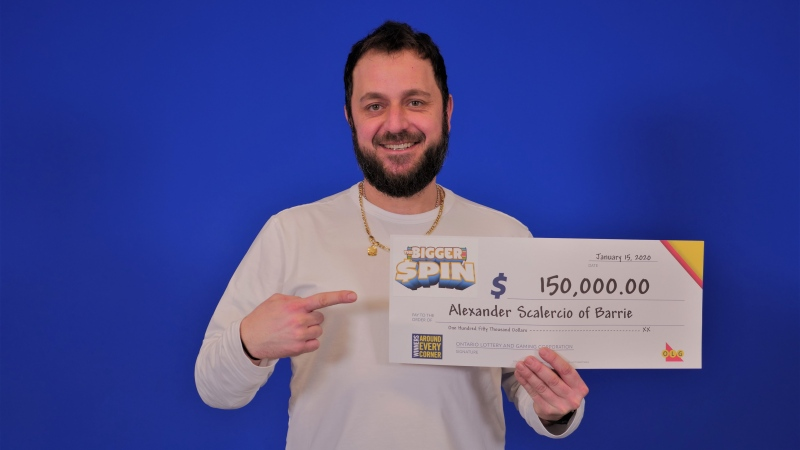 Alexander Scalercio claims $150,000  jackpot from lottery prize centre in Toronto. Jan. 20, 2020 (OLG)