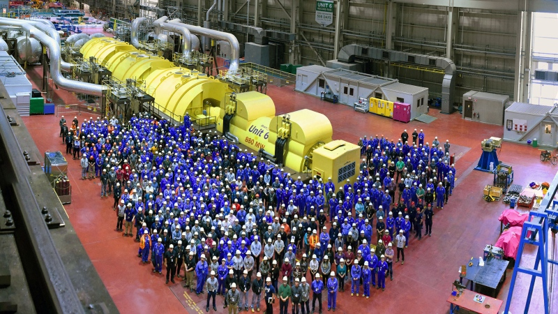 Workers at Bruce Power's Unit 6 gather as the next phase of refurbishment is set to start in Tiverton, Ont. on Monday, Jan. 20, 2020. (Source: Bruce Power)