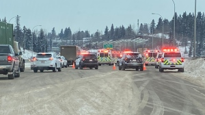 First responders blocked several lanes of Quesnell Bridge due to a collision Monday. Jan. 20, 2020. (CTV News Edmonton)