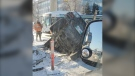 A photo shows a vehicle that fell into a construction hole in Winnipeg on Jan. 20, 2020. (Submitted: Roger Poisson)