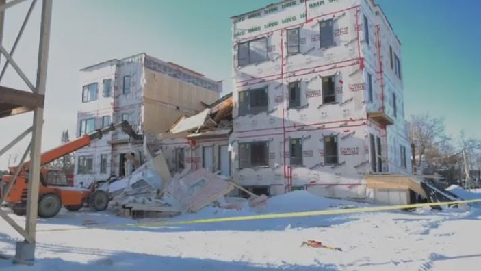A roof collapsed at a a construction site in Blainville on Monday, Jan. 20.