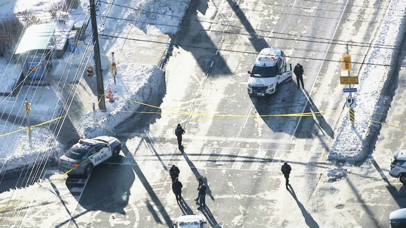 Police block off an intersection in Scarborough after a boy was shot on Monday afternoon. (CTV News Toronto)
