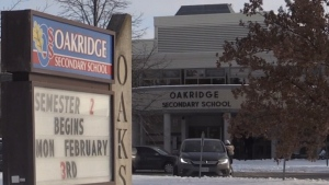 Oakridge Secondary School in London, Ont. is seen on Monday, Jan. 20, 2020. (Daryl Newcombe / CTV London)