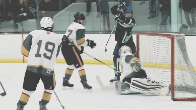 Finn Herrero's game-winning goal in the Esso Minor Hockey Bantam Two championship game on Jan. 18, 2020 (supplied)