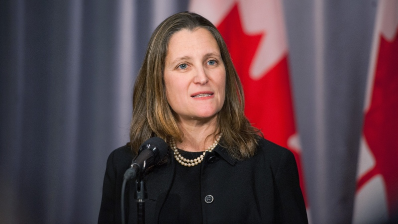 Minister of Intergovernmental Affairs and Deputy Prime Minister Chrystia Freeland speaks to the media during a press scrum on the second day of the Liberal Cabinet Retreat at the Fairmont Hotel in Winnipeg, Monday, Jan. 20, 2020. THE CANADIAN PRESS/Mike Sudoma