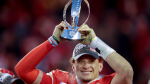Kansas City Chiefs' Patrick Mahomes celebrates with the Kansas City Chiefs after the NFL AFC Championship football game against the Tennessee Titans Sunday, Jan. 19, 2020, in Kansas City, MO. The Chiefs won 35-24 to advance to Super Bowl 54. (AP / Charlie Riedel)