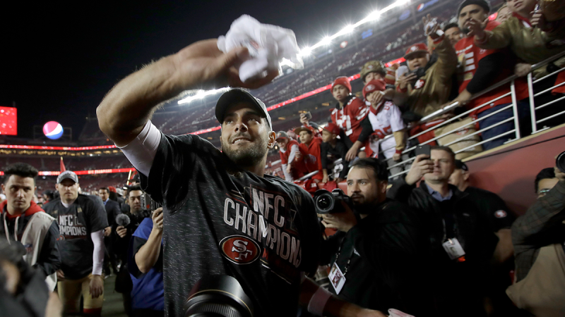 San Francisco 49ers quarterback Jimmy Garoppolo celebrates with fans after the NFL NFC Championship football game against the Green Bay Packers Sunday, Jan. 19, 2020, in Santa Clara, Calif. (AP / Marcio Jose Sanchez)