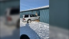This SUV crashed into a gas station in Makwa, RCMP say. (Courtesy RCMP)