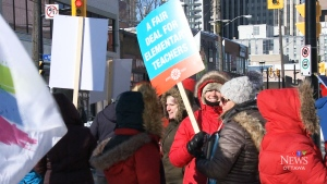 Elementary teachers stage one-day strike