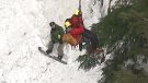 A snowboarder who had to be rescued on the North Shore on Jan. 20, 2020 after going out of bounds is seen in this image from CTV's Chopper 9.