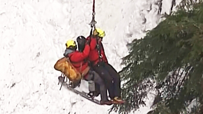 Caught on cam: Snowboarder rescued on North Shore