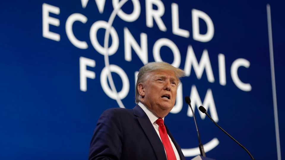 U.S. President Donald Trump delivers the opening remarks at the World Economic Forum, Tuesday, Jan. 21, 2020, in Davos. (AP Photo/ Evan Vucci)