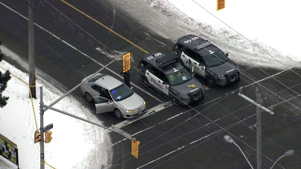 Toronto police cruisers are seen at the scene of a fatal collision in North York on Jan. 21, 2020. (CTV News Toronto's chopper)