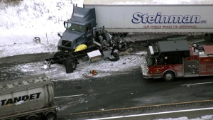 One person is dead after a crash on Highway 401 near Newcastle. (CTV News Toronto's chopper)