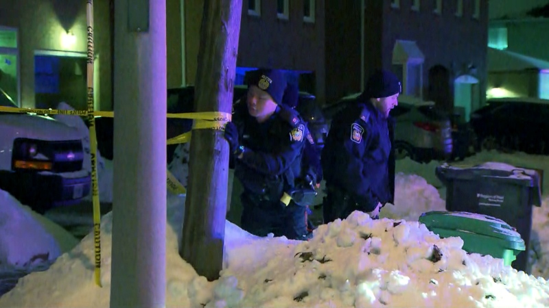 Investigators are seen at the scene of a Brampton shooting on Jan. 21, 2020. (CTV News Toronto)