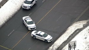 Peel Regional Police cruisers are seen at the scene of a collision in Brampton on Jan. 21, 2020. (CTV News Toronto's chopper)