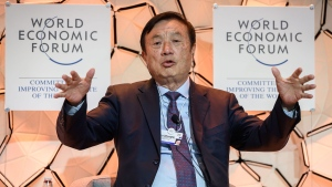 Huawei's founder and CEO had a confident message for the business leaders and politicians gathering in Davos: His company can withstand even greater hostility from the United States. (Fabrice Coffrini/AFP via Getty Images/CNN)