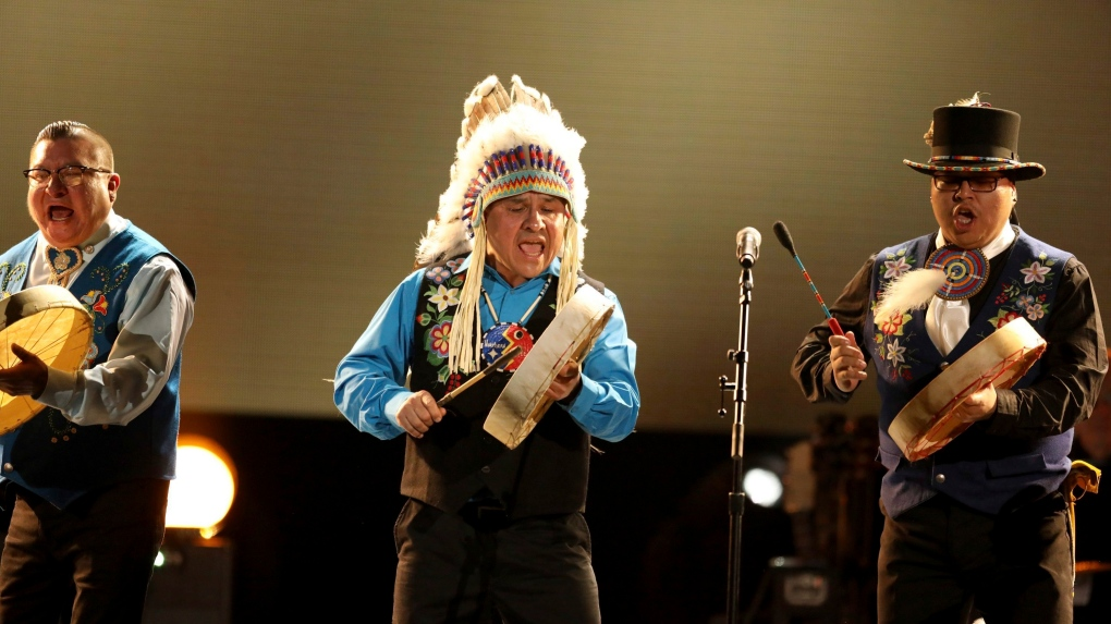 Northern Cree performs at the 2017 Grammy Awards