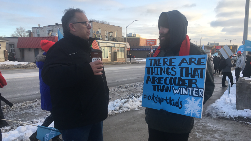 Unifor president Dave Cassidy joins teachers on the picket line in Windsor, on Tuesday, Jan. 21, 2020. (Bob Bellacicco / CTV Windsor)