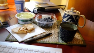This Jan. 17, 2020 image shows a display of guacamole and chips and blueberries in Allison Park, Pa. (Ted Anthony via AP)
