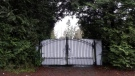 A shielded gate at the entrance of Meghan and Prince Harry's temporary home in North Saanich, B.C. (AFP)