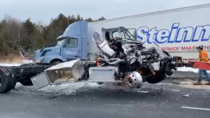 """Two of the three vehicles involved what police say was a """"horrific"""" crash. (@OPP_HSD / Twitter)"""