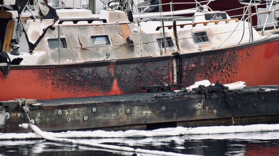 The boat fire began on Sunday afternoon in Nanoose Bay: Jan. 20, 2020 (Shirley Vaux)