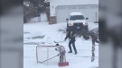 Playing hockey in a winter storm. (Jason Frayn photo)