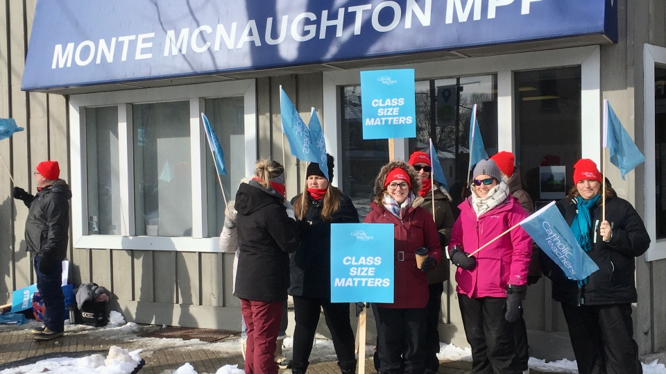 Teachers rally outside the office of Lamtbon-Kent-Middlesex MPP Monte McNaughton in Strathroy, Ont. on Tuesday, Jan. 21, 2020. (Jim Knight / CTV London)