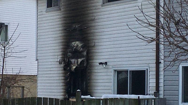 A home damaged by fire is seen in Strathroy, Ont. on Tuesday, Jan. 21, 2020. (Jim Knight / CTV London)