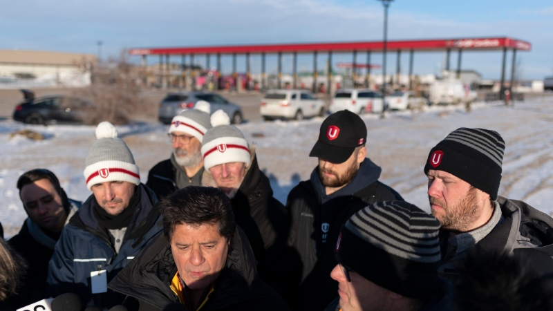 Unifor national president Jerry Dias speaks at a press conference in Regina on Tuesday, January 21, 2020. Dias along with other Unifor members were arrested Monday night while blockading the Co-op Refinery. THE CANADIAN PRESS/Michael Bell
