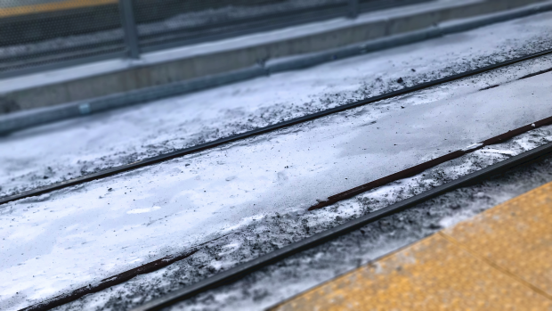Tracks at Hurdman Station along the Confederation Line of Ottawa's LRT system in January 2020.