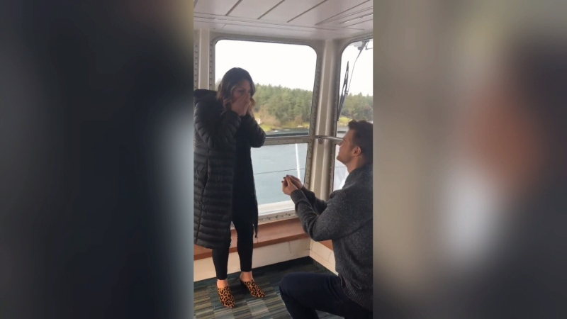 A Vancouver Island couple got engaged aboard a BC Ferries vessel after years of distance apart between the island and the mainland. (Jaydon Boughen)