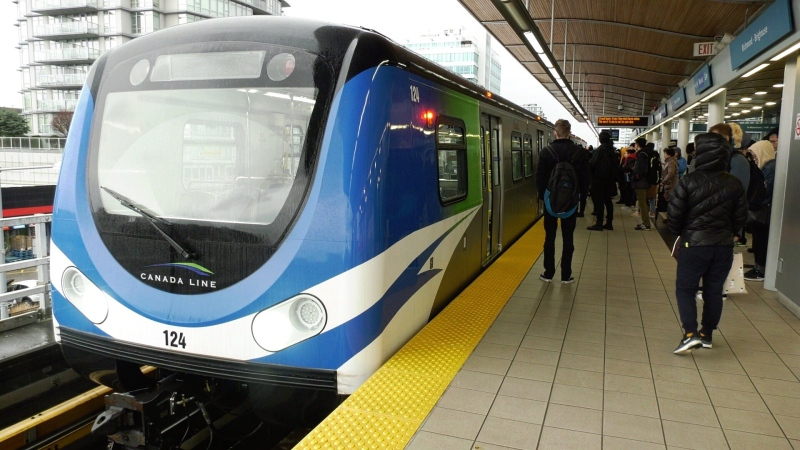 A Canada Line train is seen at Richmond-Brighouse Station in Richmond, B.C., on Tuesday, Jan. 21, 2020. (Jim Fong / CTV News Vancouver)