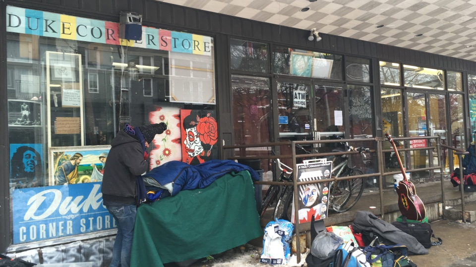 Everyone in Duke Corner Store was made to leave after the sheriff and police came to evict Udanapher Green. (Stephanie Villella / CTV Kitchener)