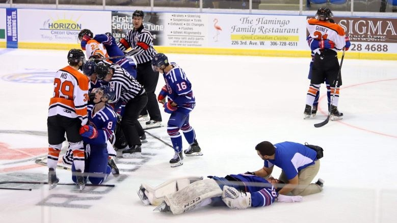 Berk Berkeliev, bottom right, lost his two front teeth, received stitches in his lip, repairs to the back of his head and a concussion after a hit from a Yorkton terriers forward in September 2019.
