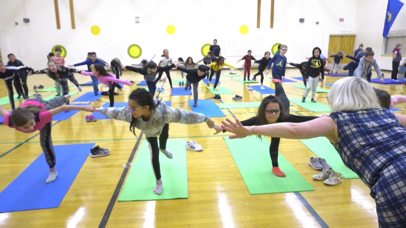 Students at Sweet Grass Elementary School participating in yoga club. January 21, 2020 (CTV News Edmonton)