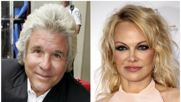 This combination photo shows Hollywood producer Jon Peters at a ceremony honoring him with a star on the Hollywood Walk of Fame in Los Angeles on May 1, 2007, left, and model-actress Pamela Anderson at the amfAR, Cinema Against AIDS, benefit in Cap d'Antibes, southern France, on May 23, 2019. (AP Photo)
