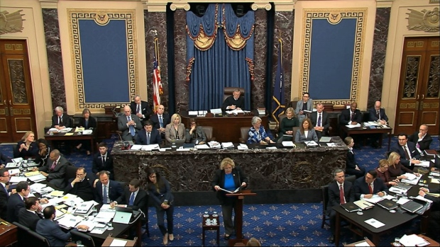 In this image from video, impeachment manager Rep. Zoe Lofgren, D-Calif., speaks in support of an amendment offered by Sen. Chuck Schumer, D-N.Y., during the impeachment trial against President Donald Trump in the Senate at the U.S. Capitol in Washington, Tuesday, Jan. 21, 2020. (Senate Television via AP)