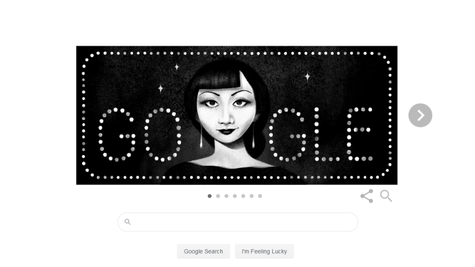 Wednesday's slideshow Google Doodle celebrates the first-ever Chinese American movie star in Hollywood, Anna May Wong, on the 97th anniversary of her first leading role. (Google)