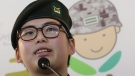 South Korean army Sgt. Byun Hui-su speaks during a press conference at the Center for Military Human Right Korea in Seoul, South Korea, Wednesday, Jan. 22, 2020. (AP Photo/Ahn Young-joon)