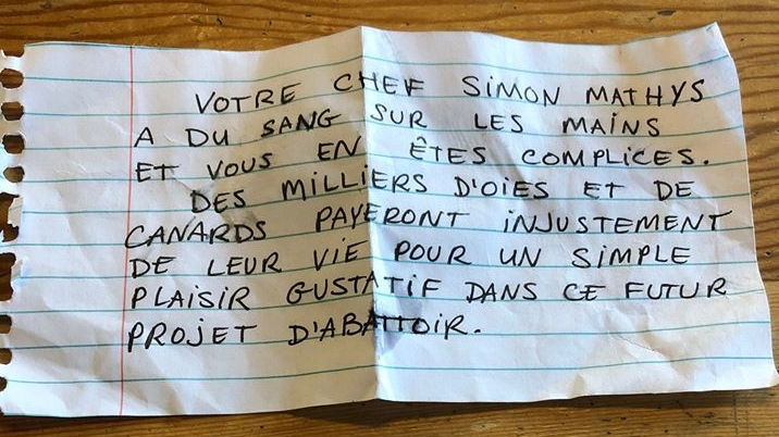 Restaurant Manitoba says it received a threatening note from a group that identifies as fighting for animal rights.