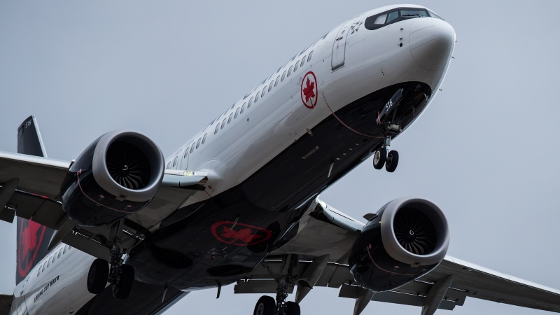 An Air Canada Boeing 737 Max aircraft arriving from Toronto prepares to land at Vancouver International Airport in Richmond, B.C., on Tuesday, March 12, 2019. THE CANADIAN PRESS/Darryl Dyck