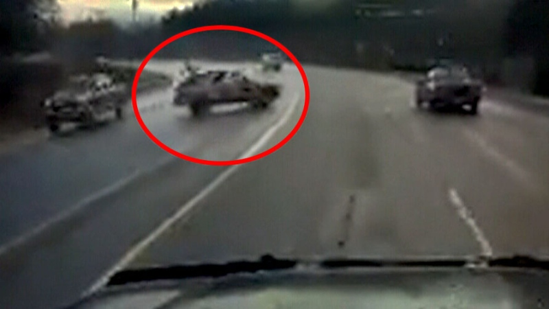 SUV swerves into oncoming traffic