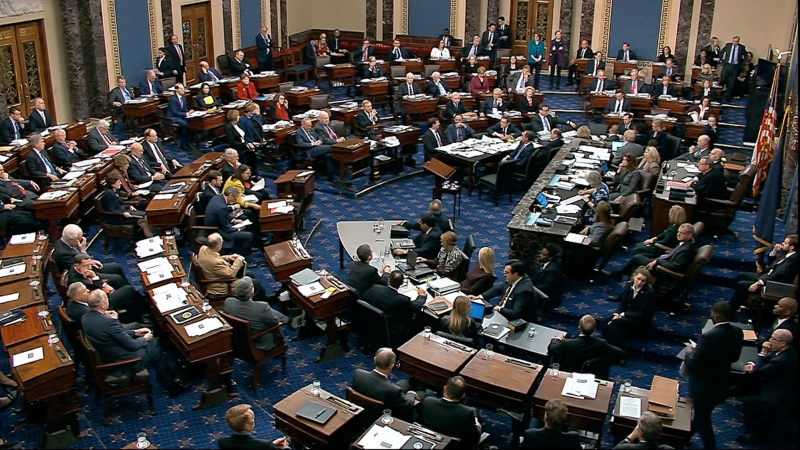 In this image from video, Senators vote on approving the rules for the impeachment trial against President Donald Trump in the Senate at the U.S. Capitol in Washington, Wednesday, Jan. 22, 2020. Senate resolution 483 passed along a party-line vote of 53-47. (Senate Television via AP)