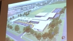 Concept drawing of new Amherstburg high school at the board meeting in Windsor on Jan. 9, 2020. (Chris Campbell / CTV Windsor)