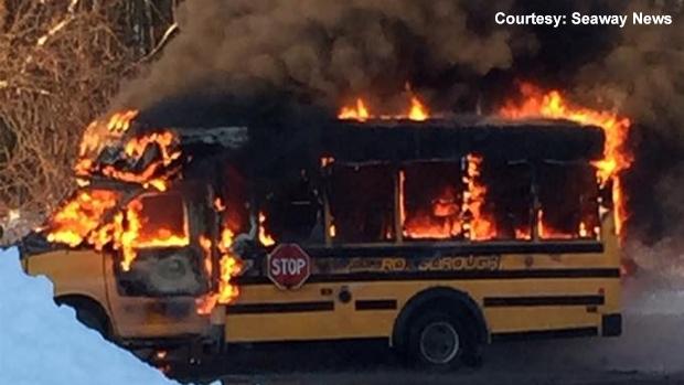 School bus fire in Long Sault